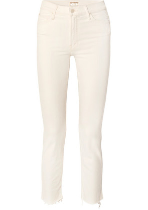 Mother - The Rascal Cropped Frayed Mid-rise Slim-leg Jeans - Cream