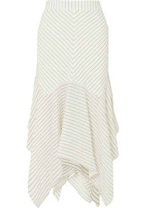 GANNI - Wilkie Striped Silk And Cotton-blend Seersucker Midi Skirt - Off-white