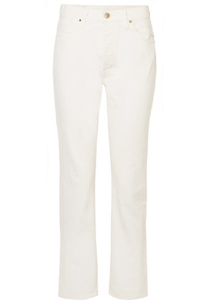 Goldsign - The Low Slung Cropped Mid-rise Straight-leg Jeans - Cream