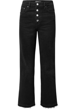 AMIRI - Frayed Lurex-trimmed High-rise Straight-leg Jeans - Black