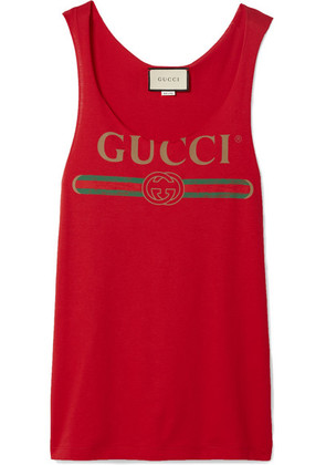 Gucci - Printed Cotton-jersey Tank - Red