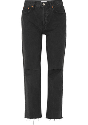 RE/DONE - Originals High-rise Stove Pipe Distressed Straight-leg Jeans - Black
