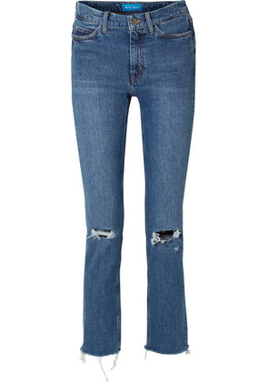 M.i.h Jeans - Daily Frayed High-rise Straight-leg Jeans - Mid denim
