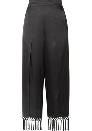Cami NYC - The Max Macramé-trimmed Silk-charmeuse Wide-leg Pants - Black