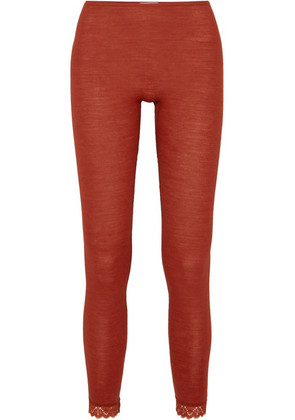 Hanro - Leavers Lace-trimmed Wool And Silk-blend Jersey Leggings - Claret