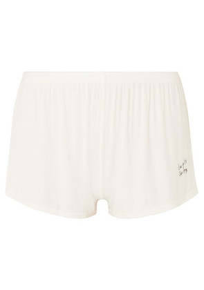 Les Girls Les Boys - Embroidered Ribbed Stretch-jersey Pajama Shorts - Ecru