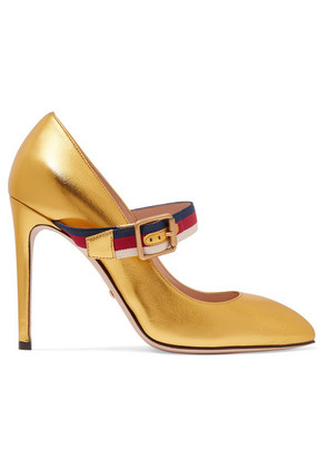 Gucci - Canvas-trimmed Metallic Leather Pumps - Gold