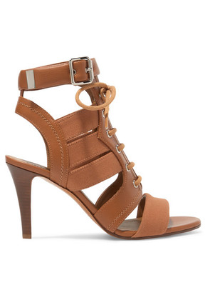 Chloé - Rylee Cutout Leather And Canvas Sandals - Tan