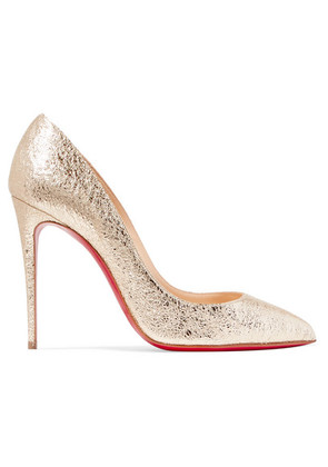 Christian Louboutin - Pigalle Follies 100 Metallic Crinkled-leather Pumps - Gold