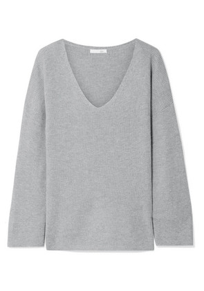 Skin - Veronica Ribbed Cotton-blend Pajama Top - Gray