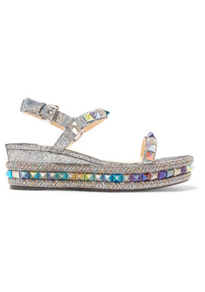 Christian Louboutin - Pyraclou 60 Spiked Metallic Cracked-leather Wedge Sandals - Silver