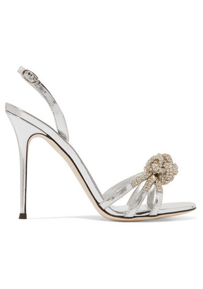 Giuseppe Zanotti - Mistico Crystal-embellished Metallic Leather Sandals - Silver