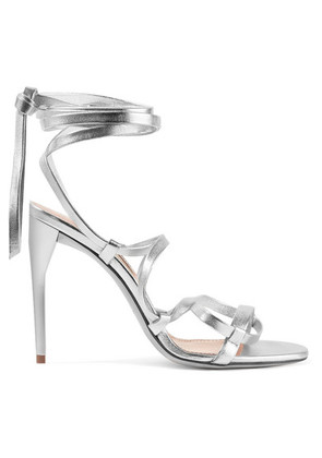 Miu Miu - Lace-up Metallic Leather Sandals - Silver