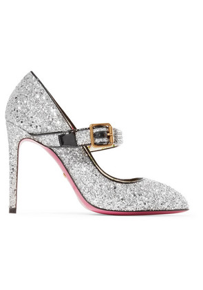 Gucci - Sylvie Crystal-embellished Glittered Leather Pumps - Silver
