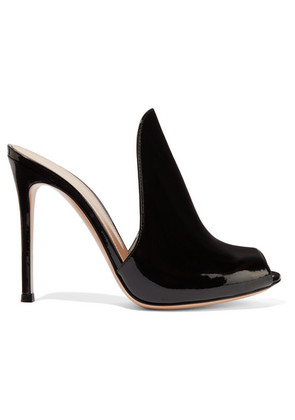 Gianvito Rossi - Aramis 100 Patent-leather Mules - Black