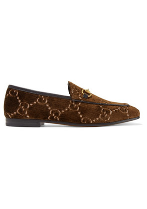 Gucci - Jordaan Horsebit-detailed Leather-trimmed Logo-jacquard Loafers - Brown