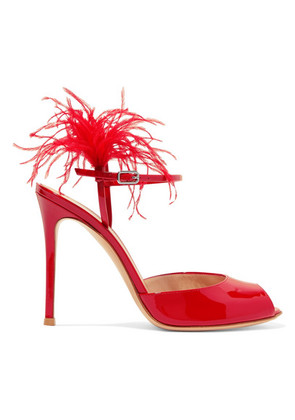 Gianvito Rossi - 100 Feather-trimmed Patent-leather Sandals - Red