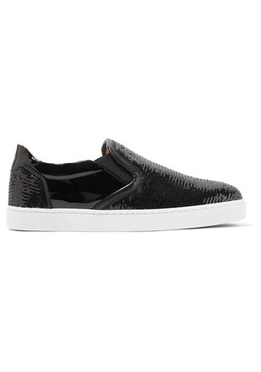 Christian Louboutin - Masteral Sequined Patent-leather Slip-on Sneakers - Black