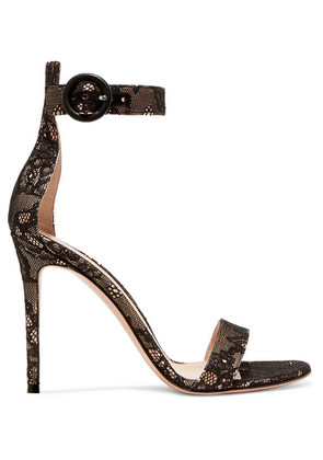 Gianvito Rossi - Portofino 105 Lace Sandals - Black