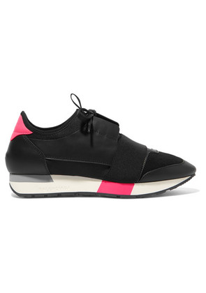 Balenciaga - Race Runner Leather, Mesh And Neoprene Sneakers - Black