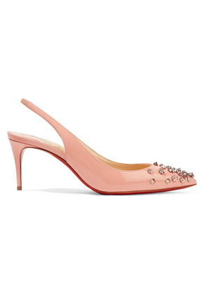 Christian Louboutin - Drama 70 Studded Patent-leather Slingback Pumps - Antique rose