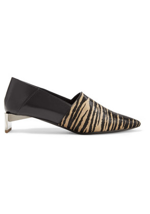 Loewe - Tiger-print Pony Hair And Leather Collapsible-heel Pumps - Sand