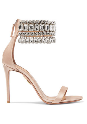 Aquazzura - Gem Palace Crystal-embellished Satin Sandals - Blush