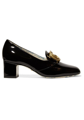 Gucci - Victoire Logo-embellished Patent-leather Pumps - Black