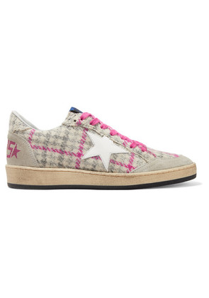 Golden Goose Deluxe Brand - Ball Star Tweed, Leather And Distressed Glittered Suede Sneakers - Beige