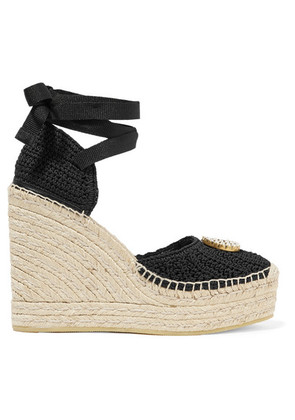 Gucci - Lilibeth Logo-embellished Crocheted Cotton Wedge Espadrilles - Black