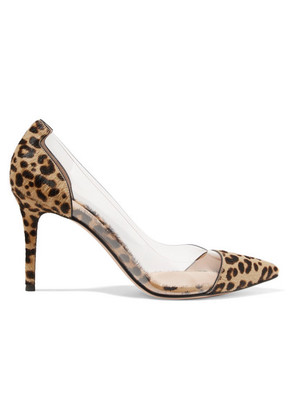 Gianvito Rossi - Plexi 85 Leopard-print Calf Hair And Pvc Pumps - Leopard print