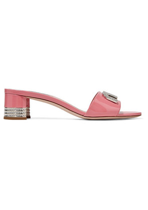 Miu Miu - Logo And Crystal-embellished Patent-leather Mules - Baby pink