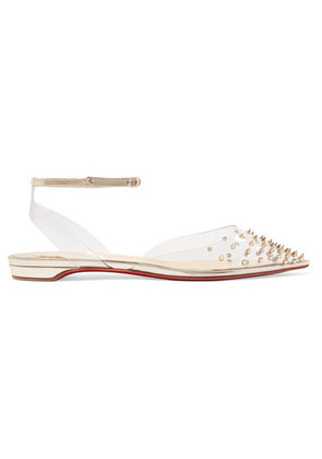 Christian Louboutin - Spikoo Spiked Pvc And Mirrored-leather Point-toe Flats - Silver