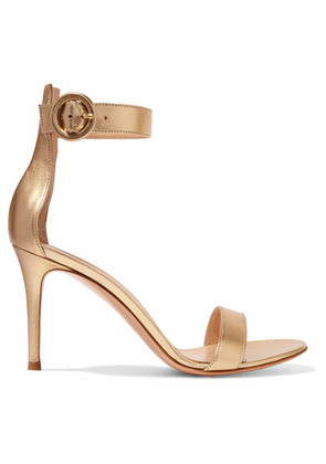 Gianvito Rossi - Portofino 85 Metallic Leather Sandals - Gold