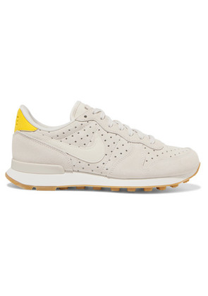 Nike - Internationalist Perforated Leather And Suede Sneakers - Beige