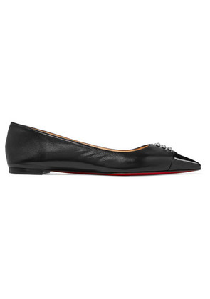 Christian Louboutin - Predupump Embellished Patent-leather Trimmed Leather Point-toe Flats - Black