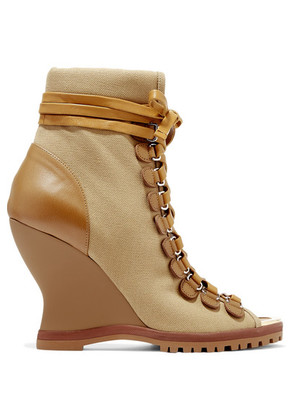 Chloé - River Canvas And Leather Wedge Ankle Boots - Brown