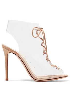 Gianvito Rossi - Helmut Plexi 100 Lace-up Pvc And Leather Ankle Boots - Neutral