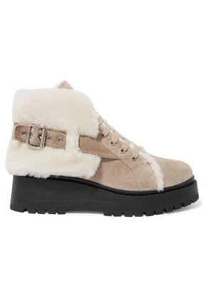 Miu Miu - Shearling-lined Suede Ankle Boots - Sand