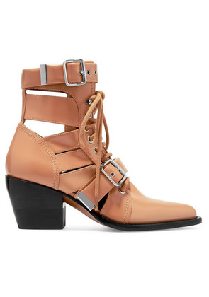 Chloé - Rylee Cutout Leather Ankle Boots - Tan