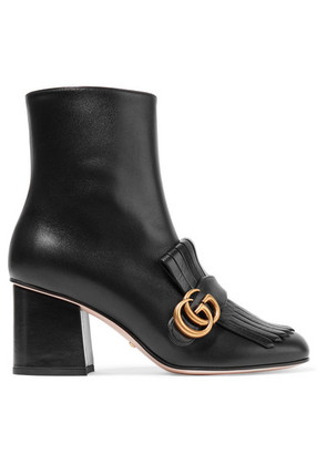 Gucci - Marmont Fringed Logo-embellished Leather Ankle Boots - Black