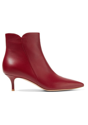 Gianvito Rossi - Levy 55 Leather Ankle Boots - Burgundy
