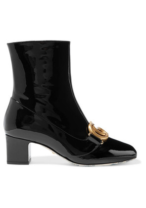 Gucci - Victoire Logo-embellished Patent-leather Ankle Boots - Black