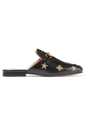 Gucci - Princetown Horsebit-detailed Embroidered Leather Slippers - Black