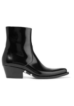 CALVIN KLEIN 205W39NYC - Tiesa Glossed-leather Ankle Boots - Black