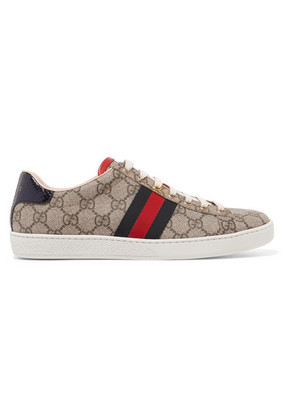 Gucci - Ace Gg Supreme Metallic Watersnake-trimmed Logo-print Coated-canvas Sneakers - Gray
