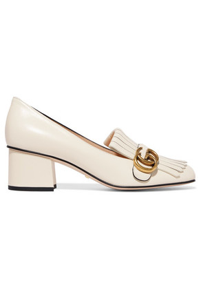 Gucci - Marmont Fringed Logo-embellished Leather Pumps - White