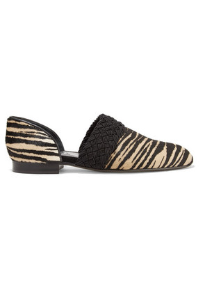 Loewe - Flex D'orsay Braided Tiger-print Pony Hair Loafers - Sand