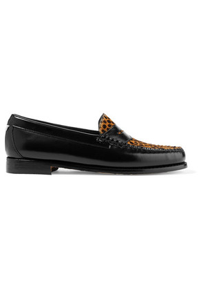 RE/DONE - + Weejuns The Whitney Glossed-leather And Leopard-print Calf Hair Loafers - Leopard print