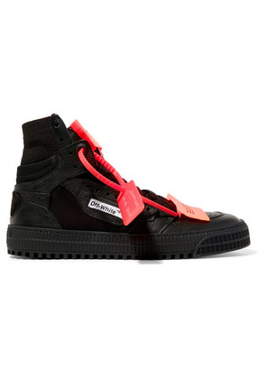 Off-White - Appliquéd Logo-embellished Textured-leather And Mesh Sneakers - Black